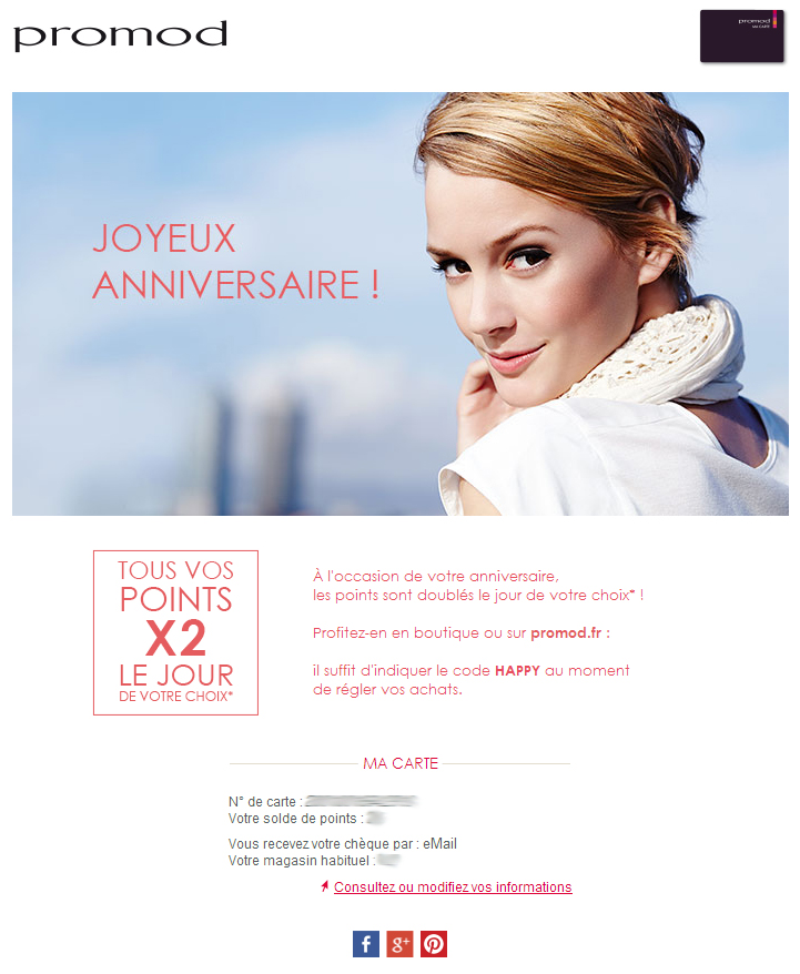 Newsletter carte d'anniversaire