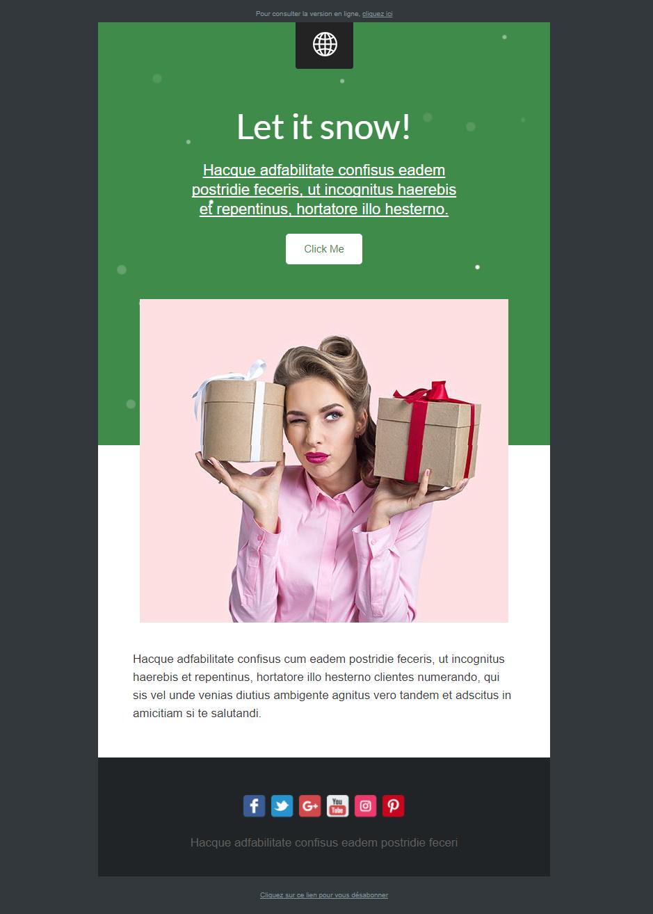 modèle emailing soldes d'hiver noel