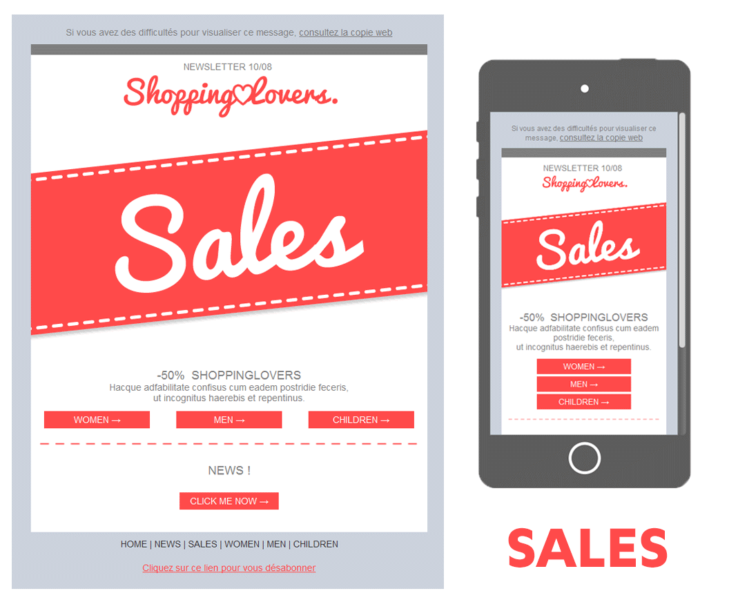 template soldes exemple