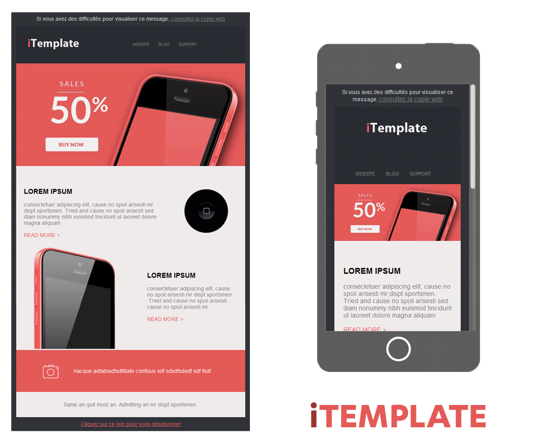 template soldes smartphone