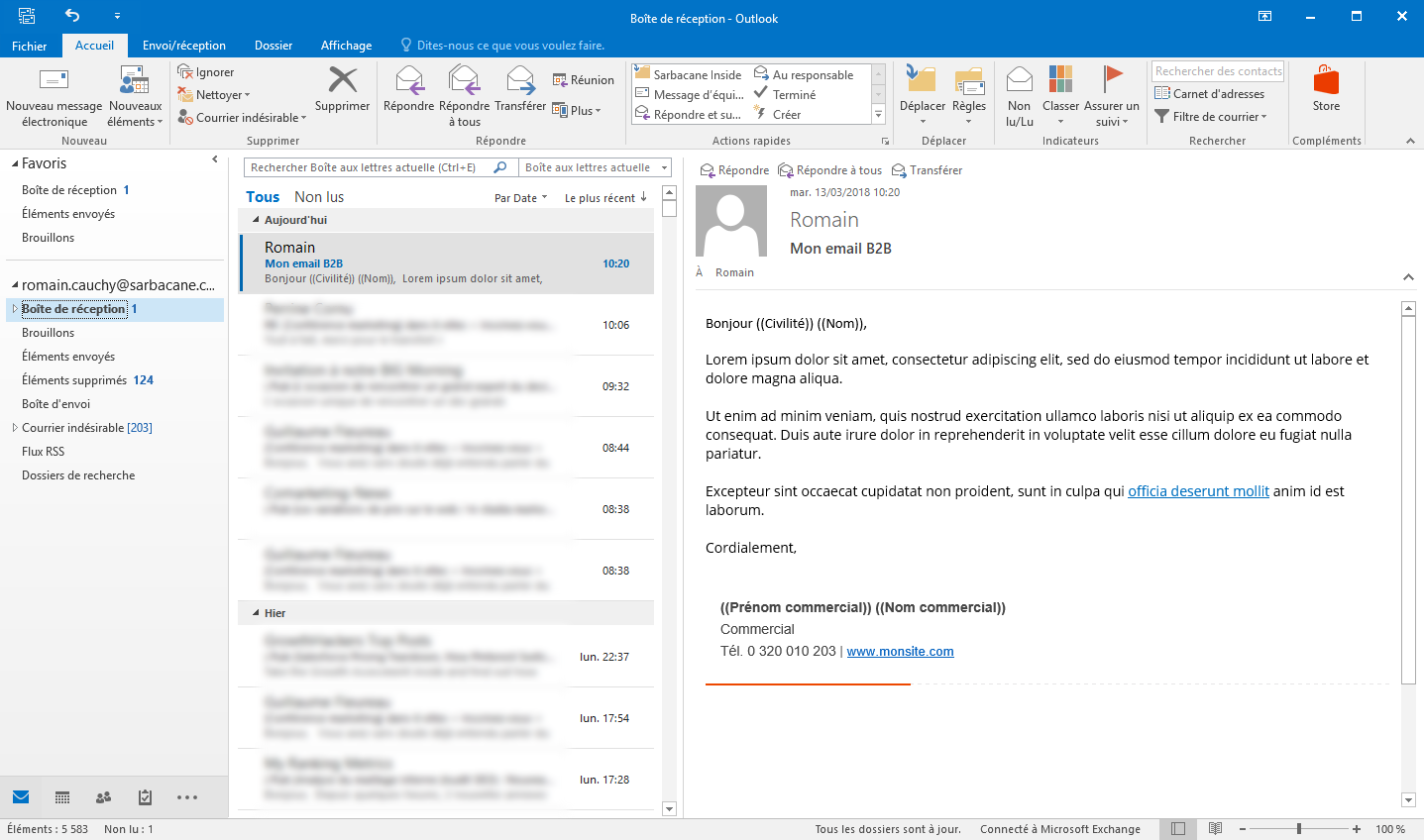 emailing dans outlook