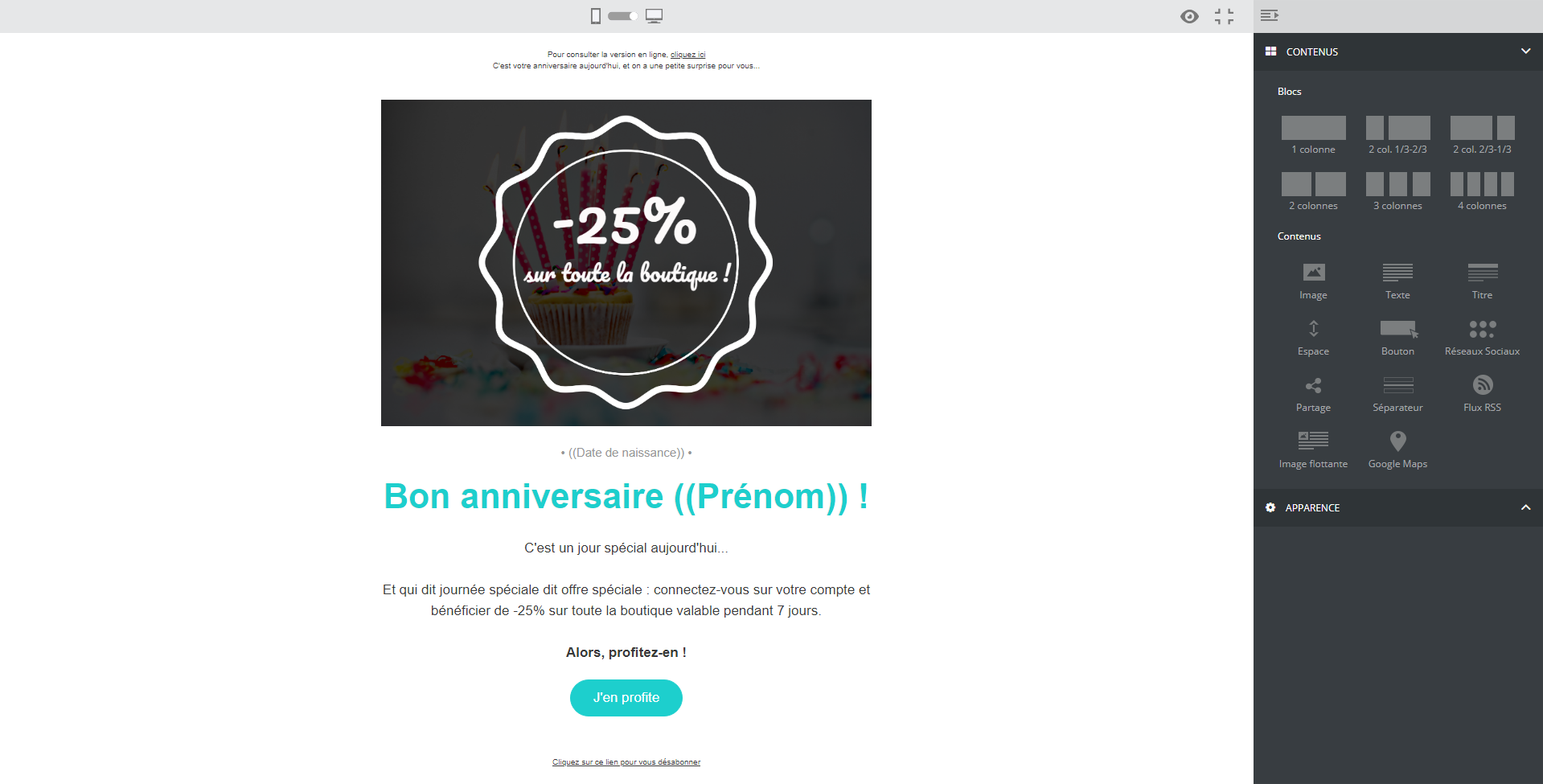 exemple email anniversaire client
