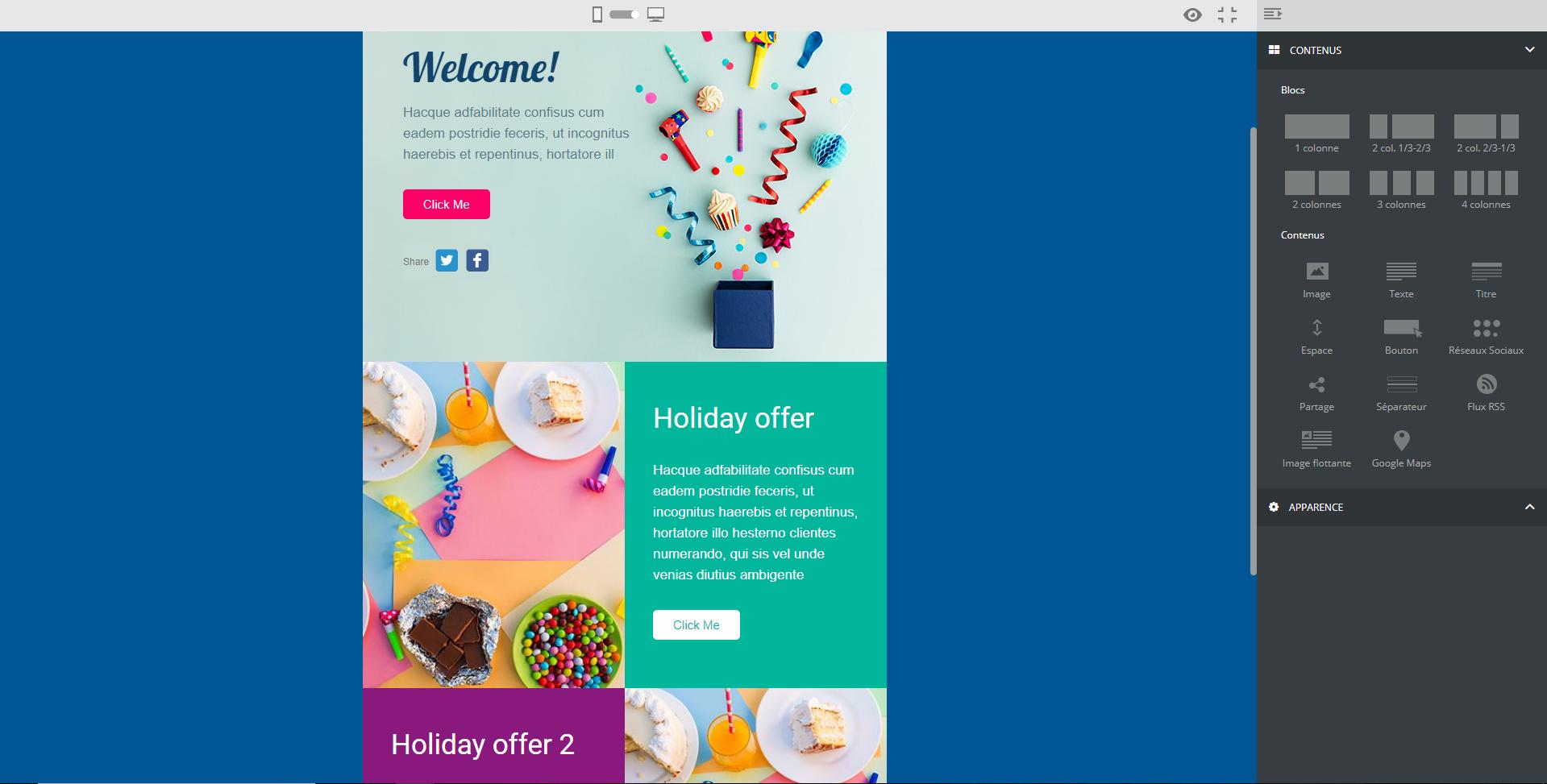 créer un email de bienvenue