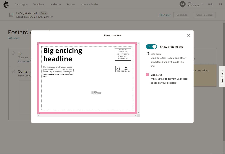 mailchimp ou sendinblue : un point pour mailchimp avec l'éditeur de cartes postales
