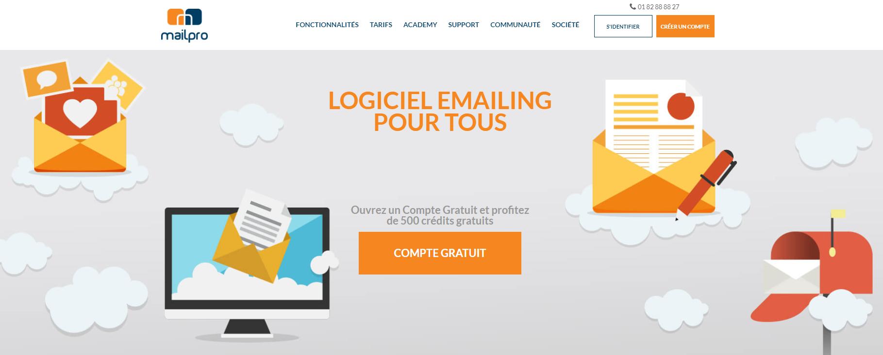 Mailpro est en français contrairement à Mailchimp