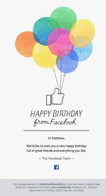 examples of « Birthday » emails 6