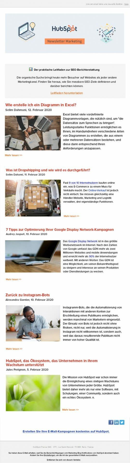 Newsletter Hubspot