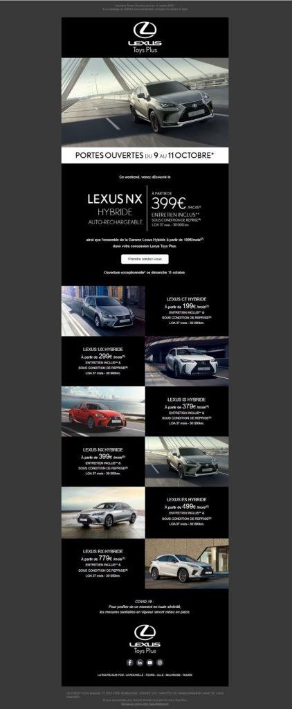 exemple newsletter automobile lexus